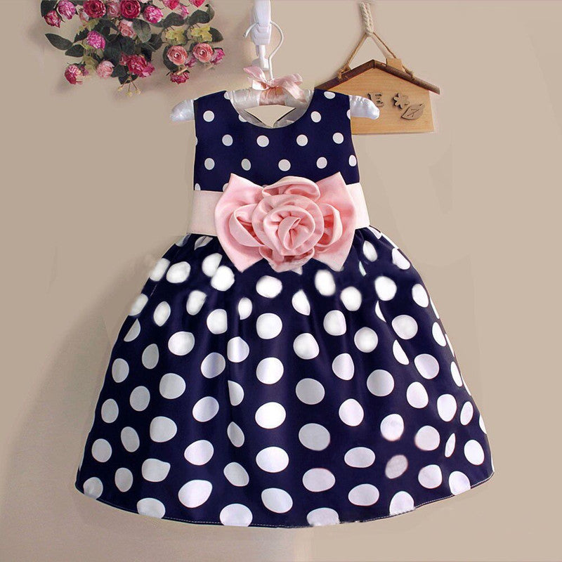 Spring/Summer Baby Girls Sleeveless Dress with Polka Dot Print and Flower Bow 3-8T - FOR MY LITTLE ANGELS