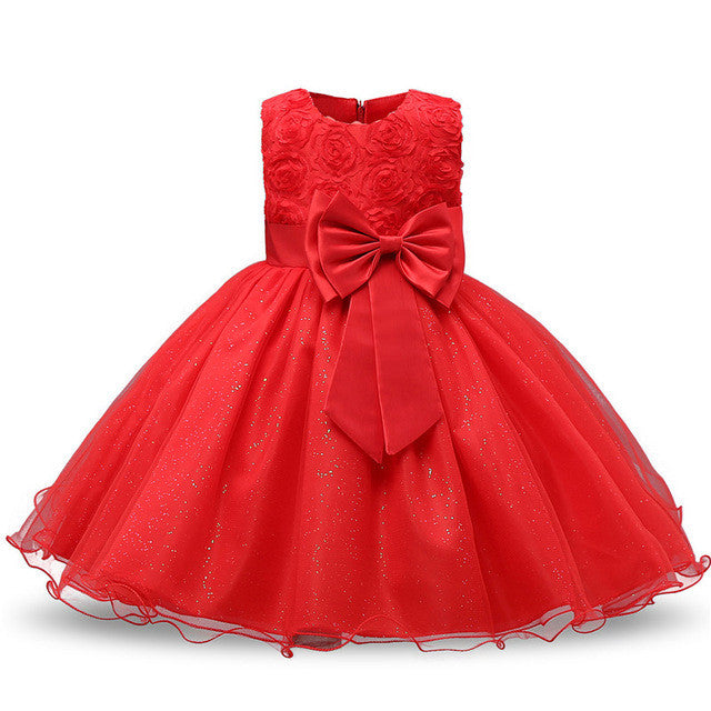 Spring/Autumn Infant GIrls Sleeveless Dress with Lace Detail, Bow and Tulle Ball Gown 3-24M - FOR MY LITTLE ANGELS
