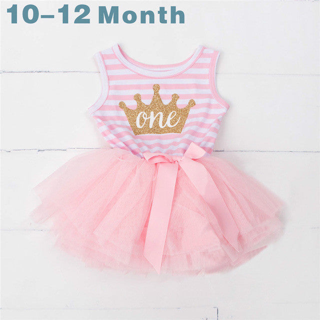 Spring/Summer Baby Girls Sleeveless Dress with Stripe Pattern, Matched Age Printed Letters and Soft Tulle Bottom 1-3T - FOR MY LITTLE ANGELS