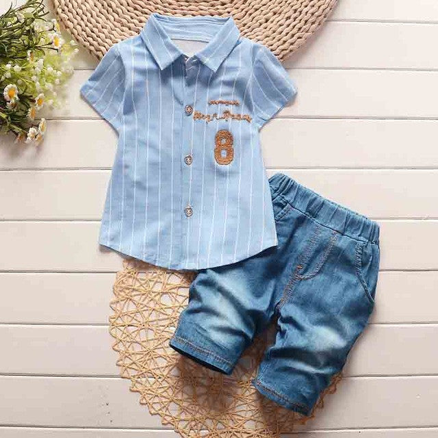 Spring/Summer Baby Boys Fashion Clothing Set with Stripe Shortsleeve Shirt and Denim Pants (2pcs) 1-4T - FOR MY LITTLE ANGELS