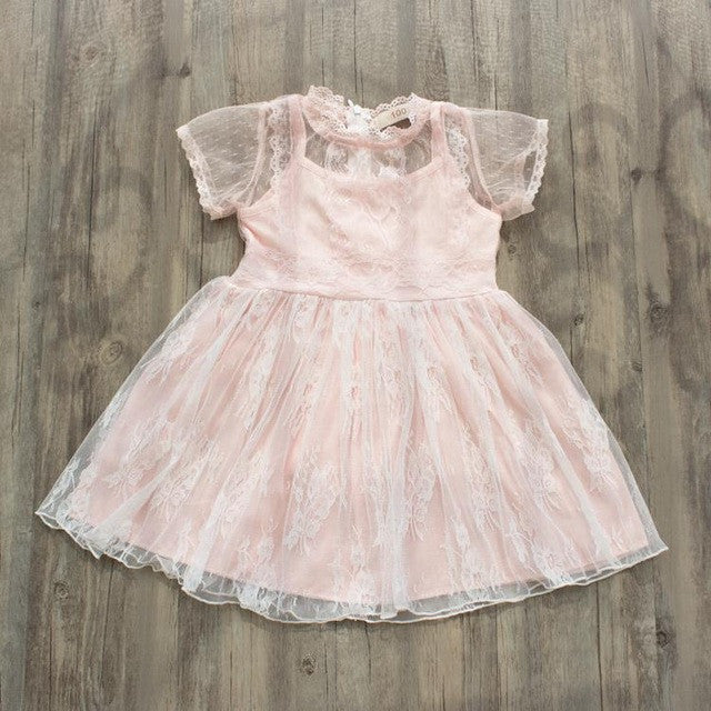 Short Sleeve Lace Dress for Baby Girls with Floral Details 2T-7 - FOR MY LITTLE ANGELS