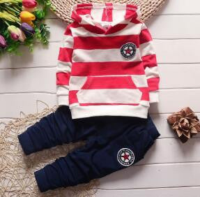 Autumn/Winter Unisex Baby Clothing Set with Stripe Hooded Sweatshirt and Long Sweatpants (2pcs) 1-4T - FOR MY LITTLE ANGELS