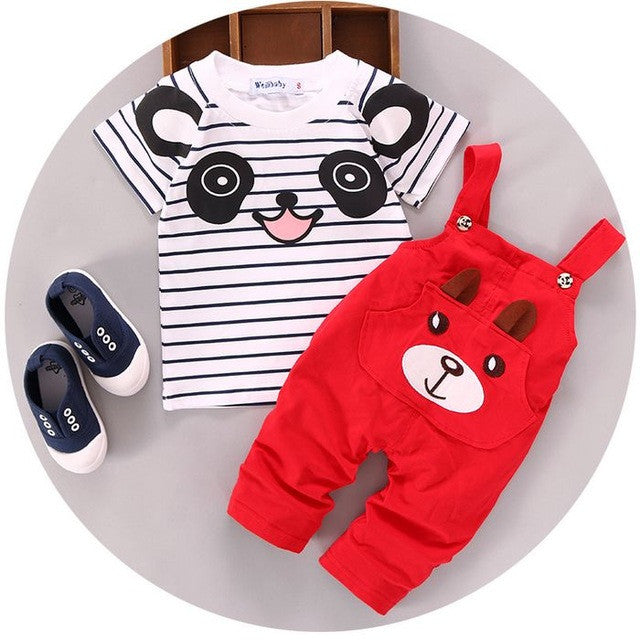 Spring/Autumn Baby Boys Fashion Clothing Set with Printed Shortsleeve T Shirt and Denim Overalls/Shorts (2pcs) 1-3T - FOR MY LITTLE ANGELS