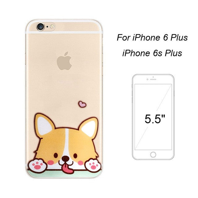 Cute Clear Phone Case with Corgi Dog Cartoon for Iphone Ip6/6s/6plus/6splus - FOR MY LITTLE ANGELS