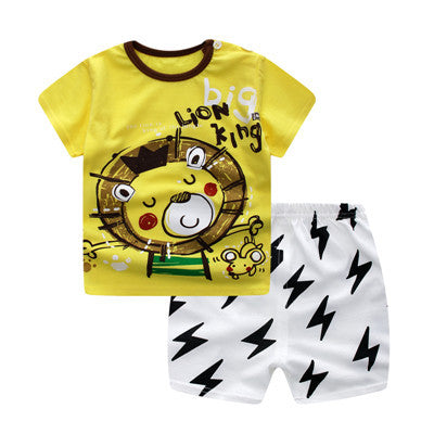 Spring/Summer Infant Boys Casual Clothing Set with Animal Printed Shortsleeve T Shirt and Pattern Shorts (2pcs) 6M-3T - FOR MY LITTLE ANGELS