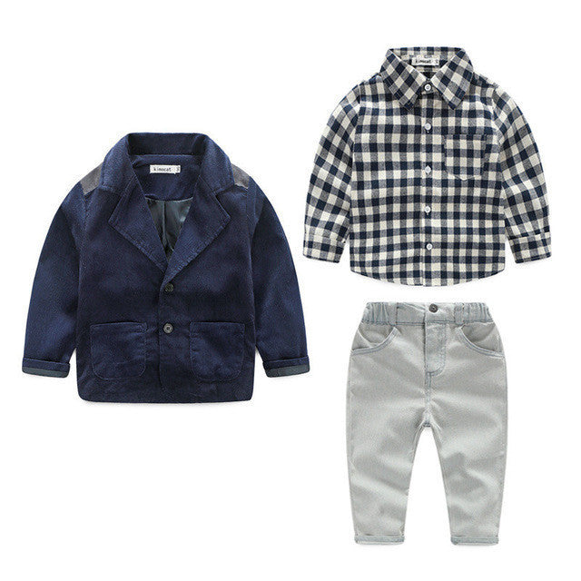 Spring/Autumn Baby Boys Clothing Set with Coat, Plaid Shirt and Long Pants (3pcs) 2-6T - FOR MY LITTLE ANGELS