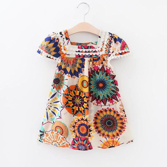 Spring/Summer Baby Girls Shortsleeve Dress with Colorful Floral Print 3-7T - FOR MY LITTLE ANGELS