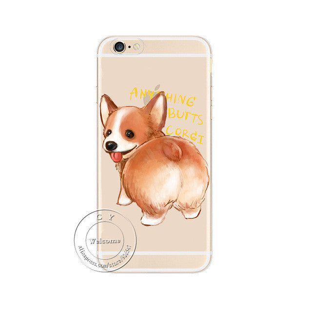 Cute Clear Phone Case with Corgi Dog Print for Ip5/5s/5se Ip6/6s/6splus Ip7/7plus - FOR MY LITTLE ANGELS