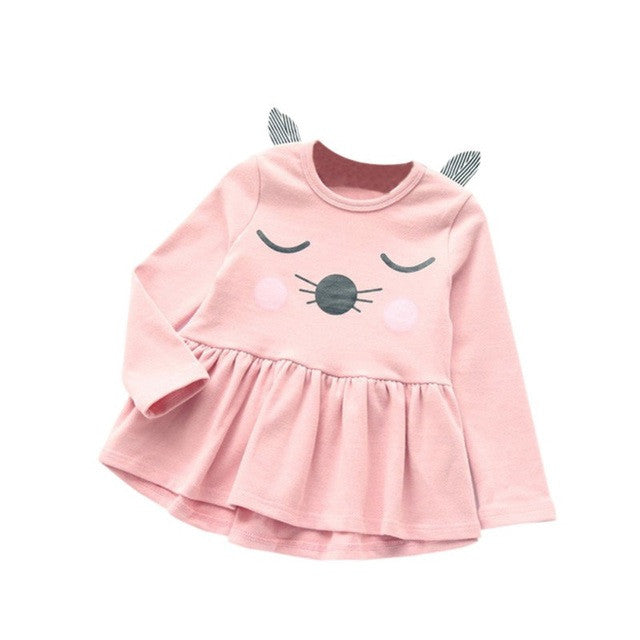 Spring/Autumn Baby Girls Longsleeve Dress in Tutu Style with Cartoon Cat Print 2-6T - FOR MY LITTLE ANGELS