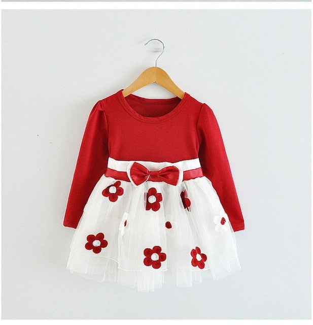 Spring/Autumn Infant Girls Longsleeve Dress with Bow and Soft tulle Bottom with Flowers Detail 9-24M - FOR MY LITTLE ANGELS