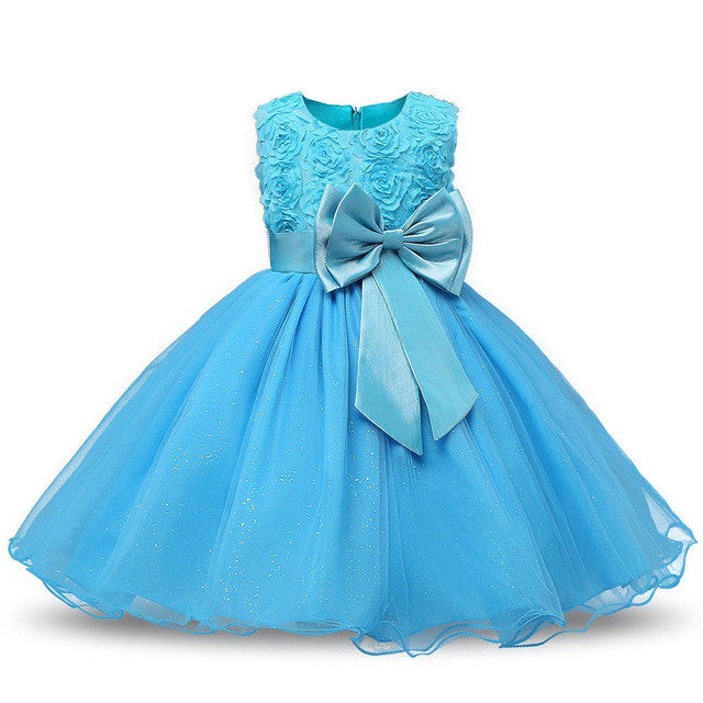 Spring/Autumn Baby Girls Sleeveless Dress in Princess Style with Flower Detail and Tulle Ball Gown 2-13T - FOR MY LITTLE ANGELS