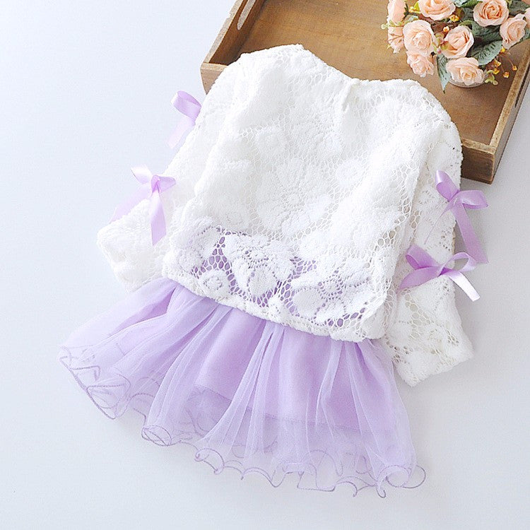 Baby Girl Dress with Lace Top and Tulle Bottom 6-24M - FOR MY LITTLE ANGELS