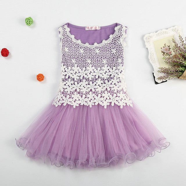 Spring/Summer Baby Girls Sleeveless Dress with Flower Lace Detail and Soft Tulle Bottom 3-12T - FOR MY LITTLE ANGELS