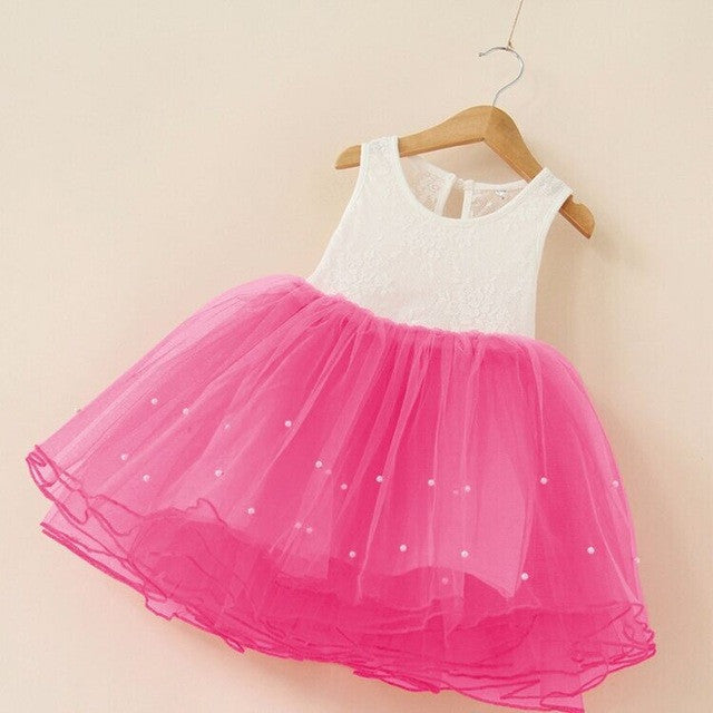Spring/Summer Baby Girls Sleeveless Dress with Tulle Bottom and Pearl Detail 2-9T - FOR MY LITTLE ANGELS