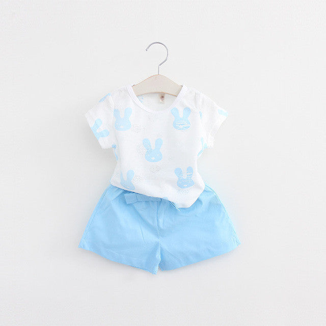 Summer Girls Clothing Set with Cotton Printed Shortsleeve T Shirt and Shorts (2pcs) 2-7T - FOR MY LITTLE ANGELS