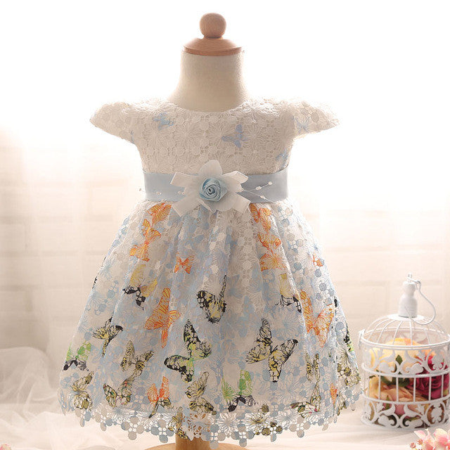 Spring/Autumn Infant Girls Shortsleeve Dress with Flowers and Rhinestones Detail in Princess Style 0-24M - FOR MY LITTLE ANGELS