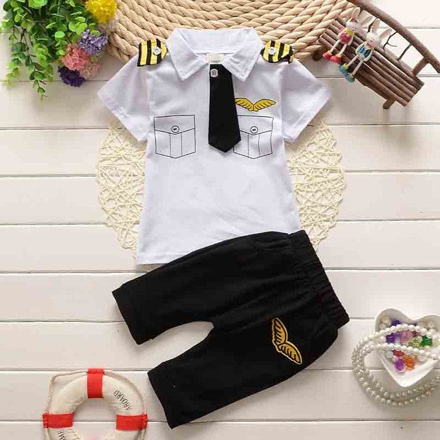 Spring/Summer Police Costume Baby Boys Clothing Set with Shortsleeve T Shirt and Long Pants (2pcs) 1-4T - FOR MY LITTLE ANGELS