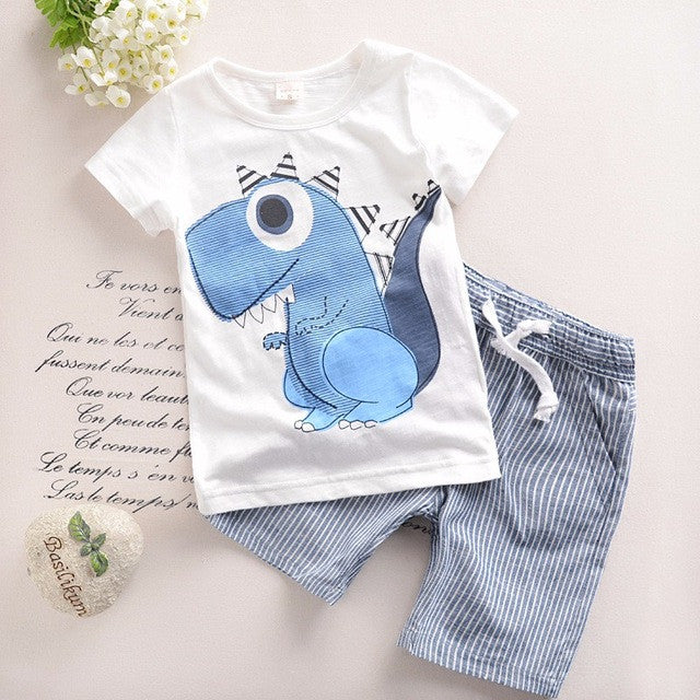 Spring/Summer Casual Baby Boys Clothing Set with Animal Printed T Shirt and Stripe Pants (2pcs) 9M-6T - FOR MY LITTLE ANGELS