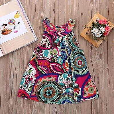 Spring/Summer Sleeveless Colorful Dress with Floral Print for Baby Girls 4-8T - FOR MY LITTLE ANGELS