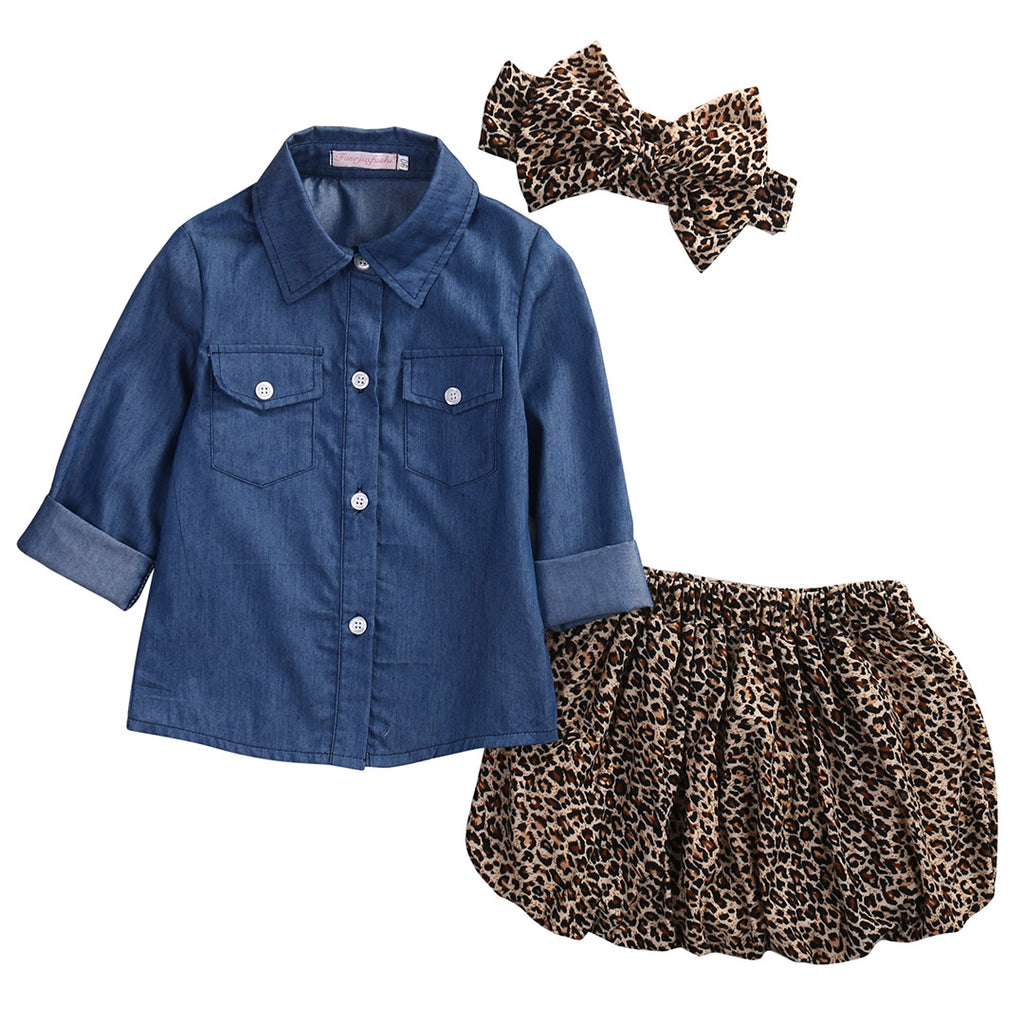 Spring/Autumn Baby Girl Clothing Set with Denim Shirt, Leopard Pattern Skirt and Matching Bow Headband (3pcs) 1-4T - FOR MY LITTLE ANGELS
