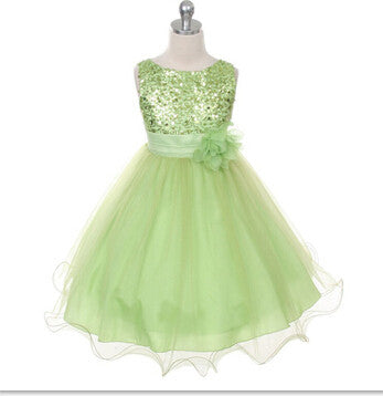 Girls Sleeveless Princess Style Dress with Flower and Sequin Top and Tulle Bottom 3-14T - FOR MY LITTLE ANGELS