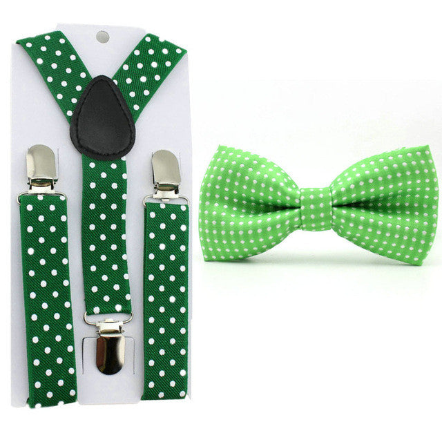 Fashion Baby Boys Polka Dot Bow Tie and Adjustable Suspender Set - FOR MY LITTLE ANGELS