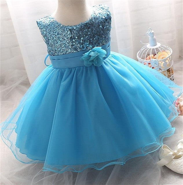 Sleeveless Dress for Infant Baby in Princess Dsign with Sequin and Bow - 4-24M - FOR MY LITTLE ANGELS