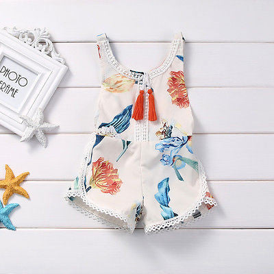 Spring/Summer Baby Girl Sleeveless Romper with Floral Print and Lace + Tassels Detail 0-4T - FOR MY LITTLE ANGELS