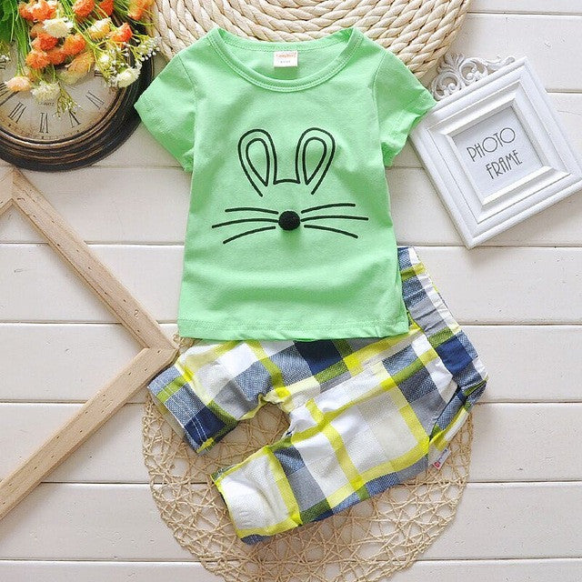 Spring/Summer Casual Unisex Baby Clothing Set with Printed T Shirt and Long Pants (2pcs) 1-4T - FOR MY LITTLE ANGELS