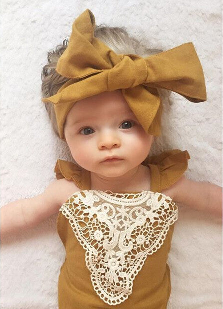 Spring/Summer Baby Girls Romper with Lace Detail and Ruffle Sleeve + Headband (2pcs) 4-24M - FOR MY LITTLE ANGELS