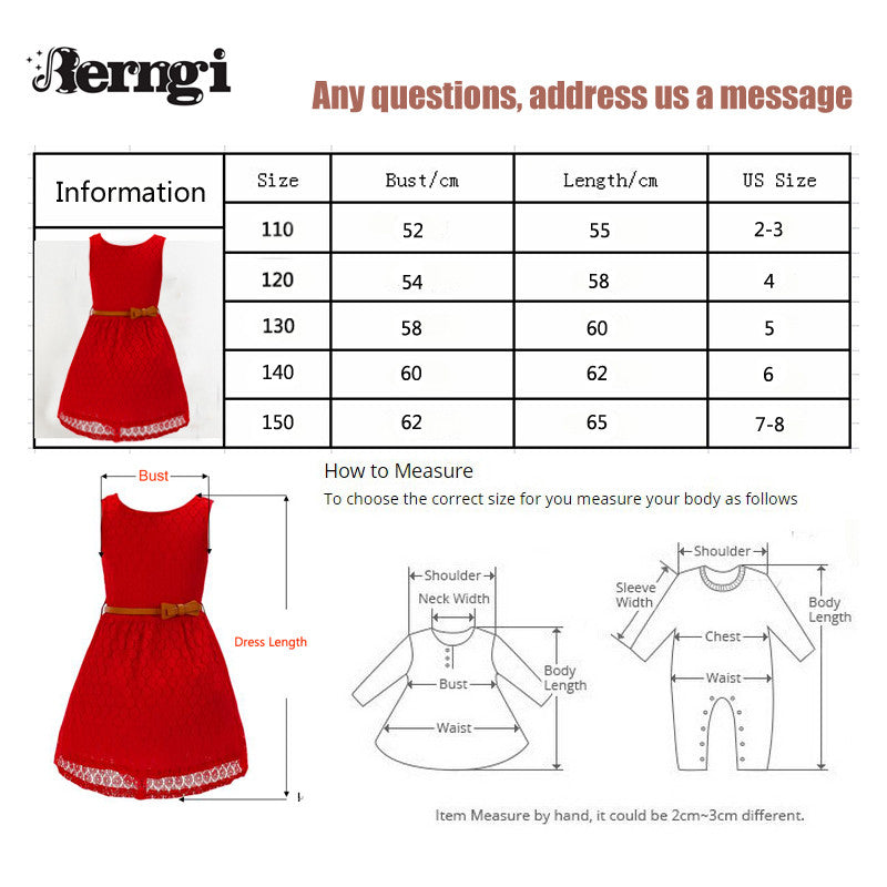 Spring/Summer Baby Girls Sleeveless Lace Dress with Belt (2pcs) 2-8T - FOR MY LITTLE ANGELS