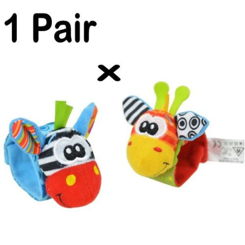 Baby Toy Set with Handbell Wrist Strap and Foot Socks with Animals Print - FOR MY LITTLE ANGELS