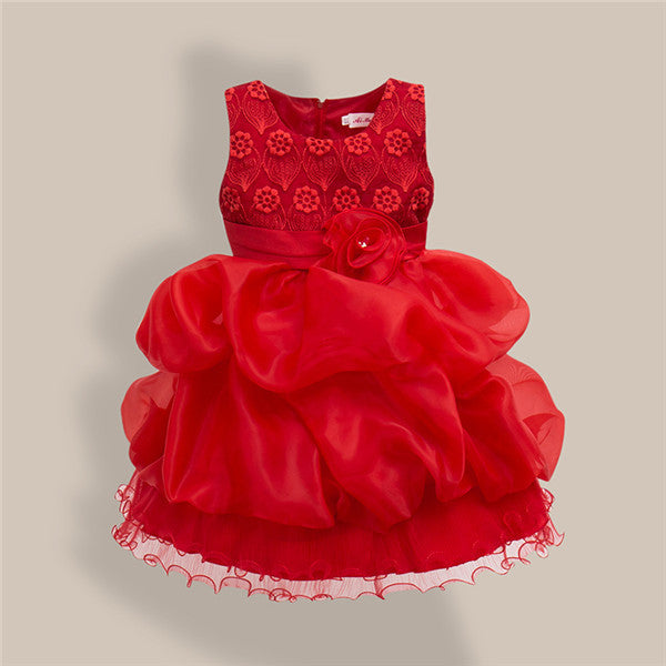 Spring/Summer Baby Girls Sleeveless Dress with Flower Petals Detail 3-11T - FOR MY LITTLE ANGELS