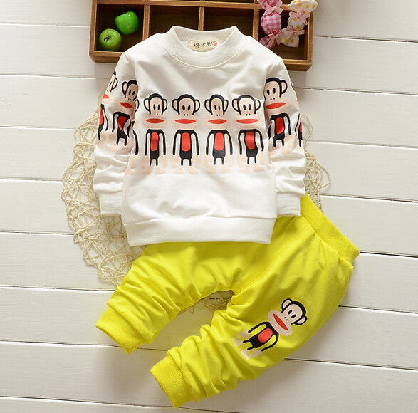 Cotton Long-sleeve Cartoon Print Clothing Set for Boys and Girls (2pcs) for 1-3T - FOR MY LITTLE ANGELS
