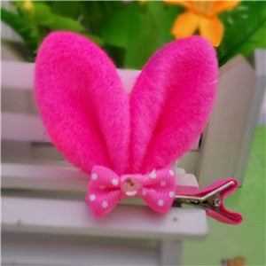 Bunny Ears Cotton Plush with Mini Bow Hair Clip Accessory for Girls - FOR MY LITTLE ANGELS
