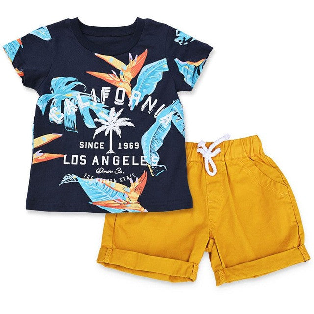 Spring/Summer Baby Boy Casual Clothing Set with Summer Printed T Shirt and Yellow Shorts (2pcs) 2-7T - FOR MY LITTLE ANGELS
