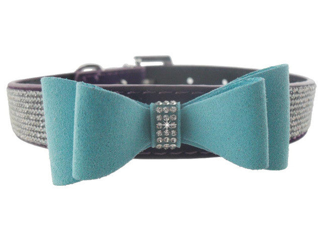 Fancy Pet Rhinestone Collar Buckle with Suede Bow Tie - FOR MY LITTLE ANGELS