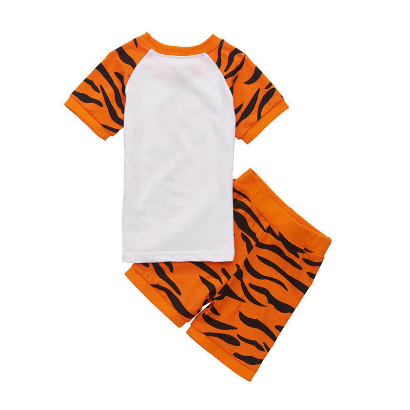 Spring/Summer Casual Unisex Baby Clothing Set with Cartoon Tiger Print T Shirt and Printed Shorts (2pcs) 2-7T - FOR MY LITTLE ANGELS