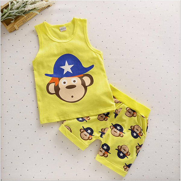 Spring/Summer Unisex Baby Clothing Set with Sleeveless Cartoon Animals Printed T Shirt and Shorts (2pcs) 1-5T - FOR MY LITTLE ANGELS