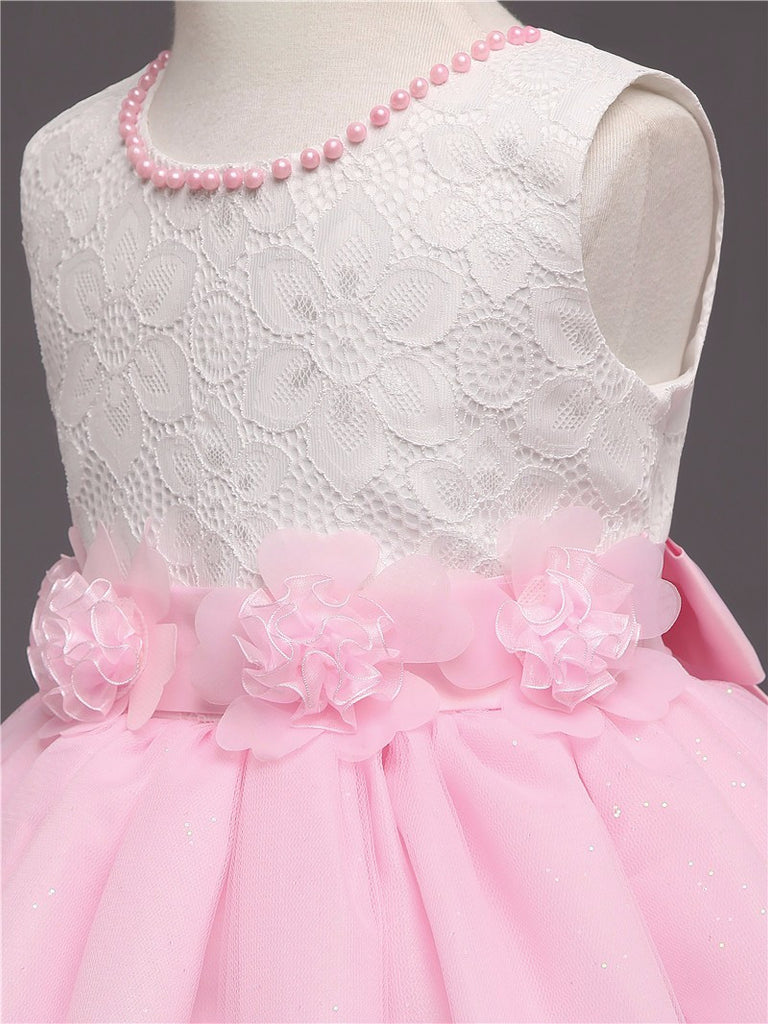 Baby Girls Party Design Dress with Flowers - 3-8T - FOR MY LITTLE ANGELS