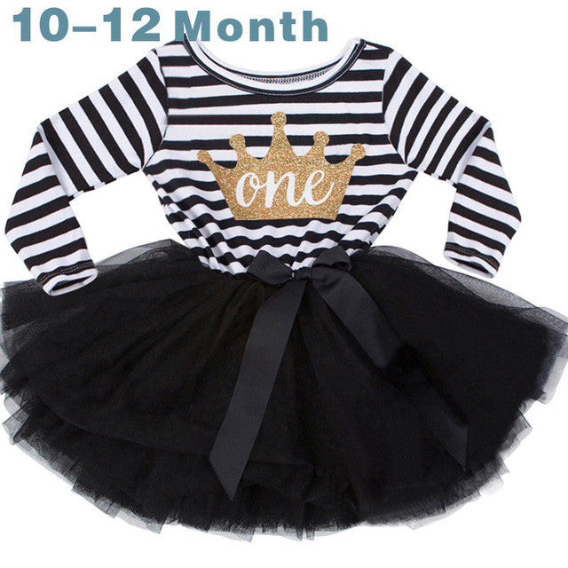 Spring/Summer Infant Girls Longsleeve Dress with Stripe Pattern, Matched Age Printed Letters and Soft Tulle Bottom 1-3T - FOR MY LITTLE ANGELS