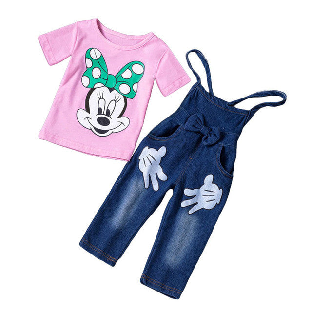 Autumn/Winter Baby Girls Minnie Mouse Printed Clothing Set with Longsleeve/Shortsleeve T Shirt and Denim Overalls (2pcs) 1-5T - FOR MY LITTLE ANGELS