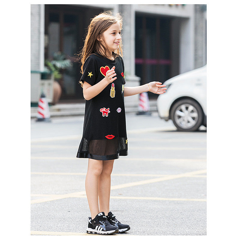Spring/Summer Girls Shortsleeve Cotton Dress with Fashion Fabric Patch and Soft Silk Layer 6-14T - FOR MY LITTLE ANGELS