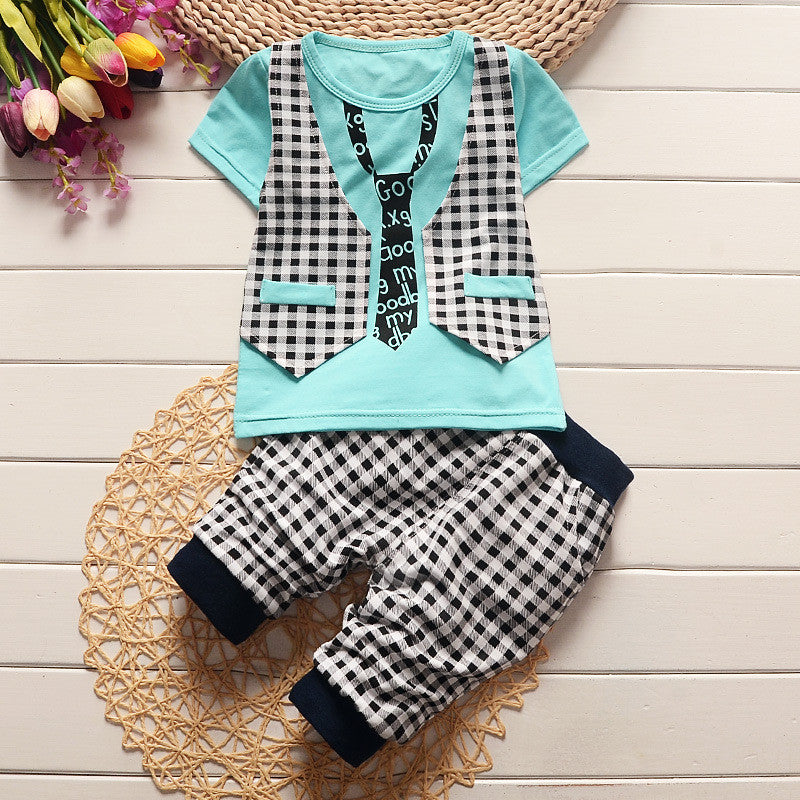 Spring/Summer Casual Baby Boys Clothing Set with Tie Print T Shirt and Checked Pants (2pcs) 1-4T - FOR MY LITTLE ANGELS