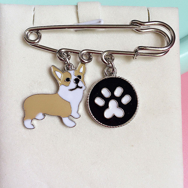 Metal Corgi Dog Key Ring with Chain and Bag Charm - FOR MY LITTLE ANGELS