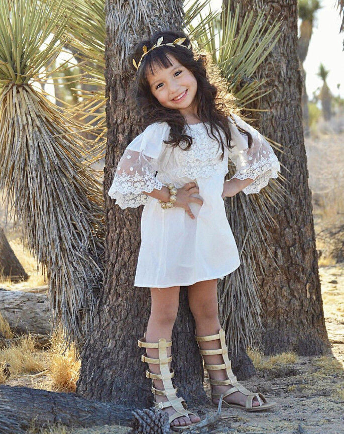 Summer Vintage Baby Girls Off Shoulder Dress with Lace Detail in Bohemian Style 2-6T - FOR MY LITTLE ANGELS