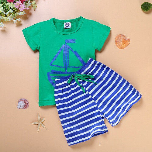 Spring/Summer Casual Cotton Baby Boys Clothing Set with Printed T Shirt and Stripe Shorts (2pcs) 2-6T - FOR MY LITTLE ANGELS