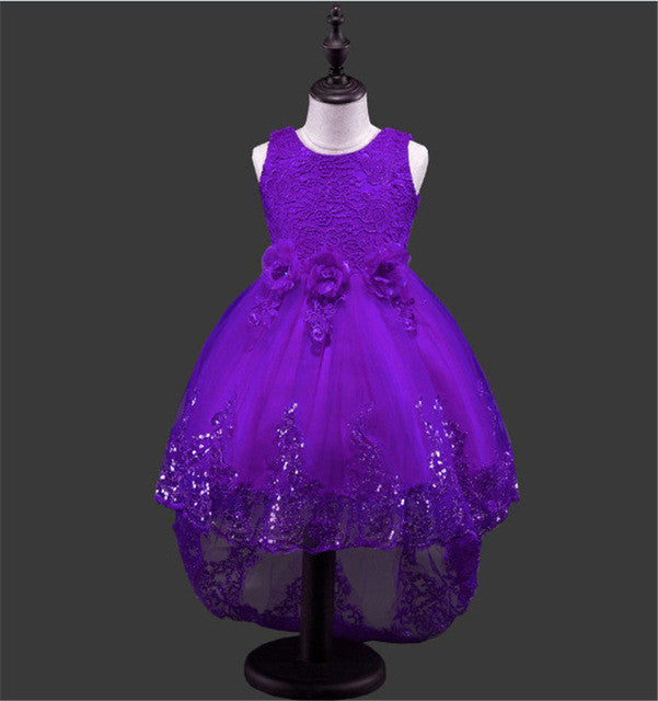 Baby Girls Princess Style Sleeveless Dress with Lace, Flowers and Glitter Details 3-9T - FOR MY LITTLE ANGELS