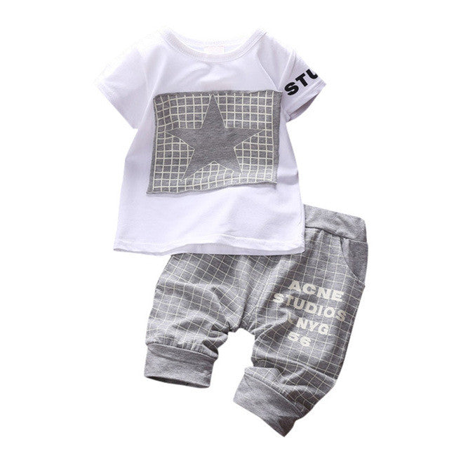 Spring/Summer Baby Boys Casual Clothing Set with Shortsleeve Printed T Shirt and Checked Sweatpants (2pcs) 1-3T - FOR MY LITTLE ANGELS
