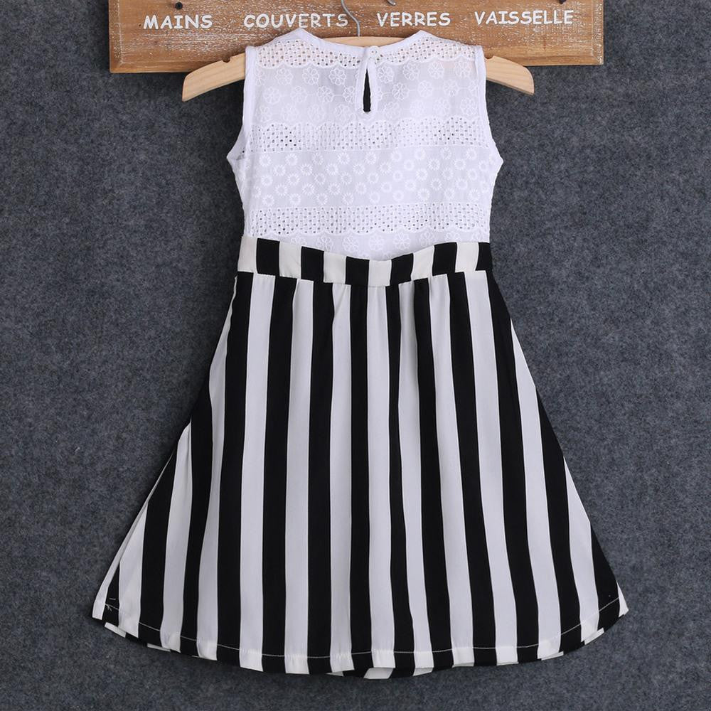 Spring/Summer Baby Girls Sleeveless Dress with White Lace Top and Stripe Bottom 3-7T - FOR MY LITTLE ANGELS